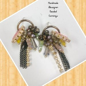 Petite Handmade Beaded Earrings, NWT